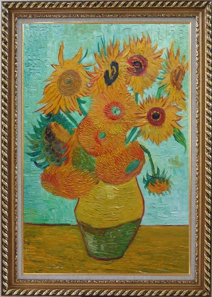 Framed  Sunflowers, Vincent Van Gogh Oil Painting Still Life Post Impressionism Exquisite Gold Wood Frame 42 x 30 Inches