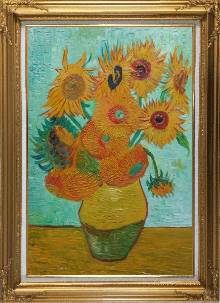 Framed  Sunflowers, Vincent Van Gogh Oil Painting Still Life Post Impressionism Gold Wood Frame with Deco Corners 43 x 31 Inches
