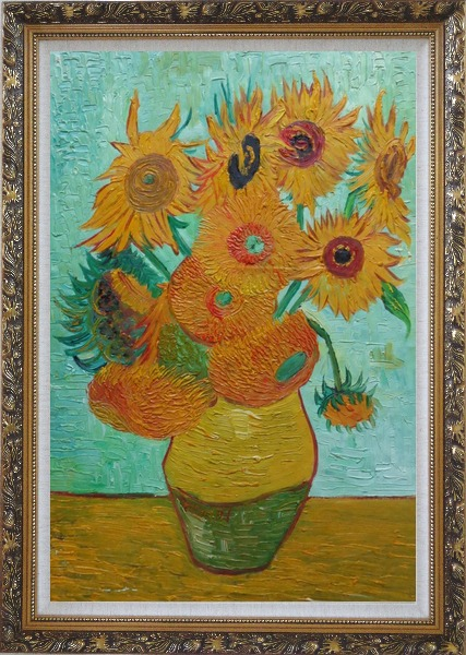 Framed  Sunflowers, Vincent Van Gogh Oil Painting Still Life Post Impressionism Ornate Antique Dark Gold Wood Frame 42 x 30 Inches