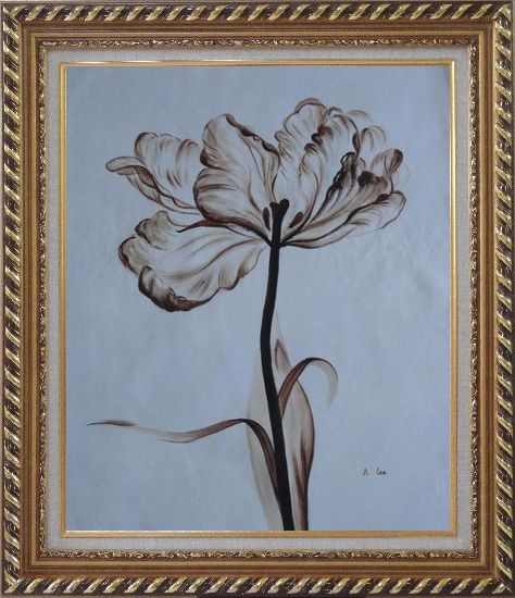 Framed Browen Poppy In the Wind Oil Painting Flower Decorative Exquisite Gold Wood Frame 30 x 26 Inches