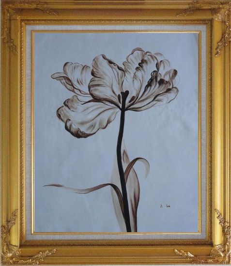 Framed Browen Poppy In the Wind Oil Painting Flower Decorative Gold Wood Frame with Deco Corners 31 x 27 Inches