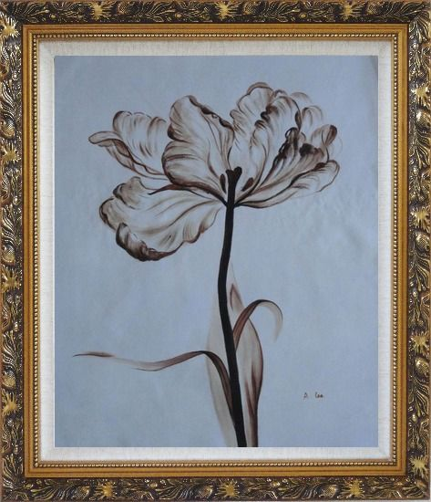 Framed Browen Poppy In the Wind Oil Painting Flower Decorative Ornate Antique Dark Gold Wood Frame 30 x 26 Inches