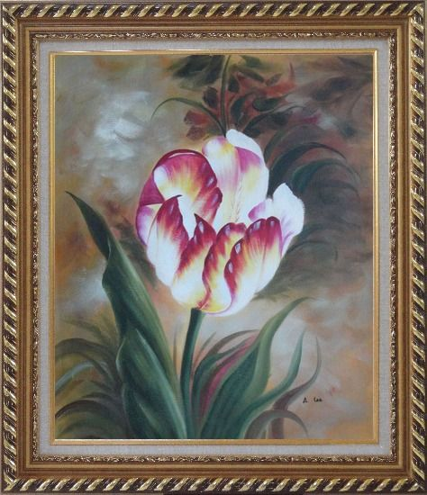 Framed  Colorful Tulip Flower In the Field Oil Painting Naturalism Exquisite Gold Wood Frame 30 x 26 Inches