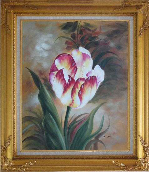 Framed  Colorful Tulip Flower In the Field Oil Painting Naturalism Gold Wood Frame with Deco Corners 31 x 27 Inches