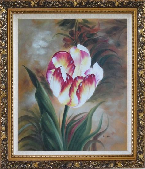 Framed  Colorful Tulip Flower In the Field Oil Painting Naturalism Ornate Antique Dark Gold Wood Frame 30 x 26 Inches