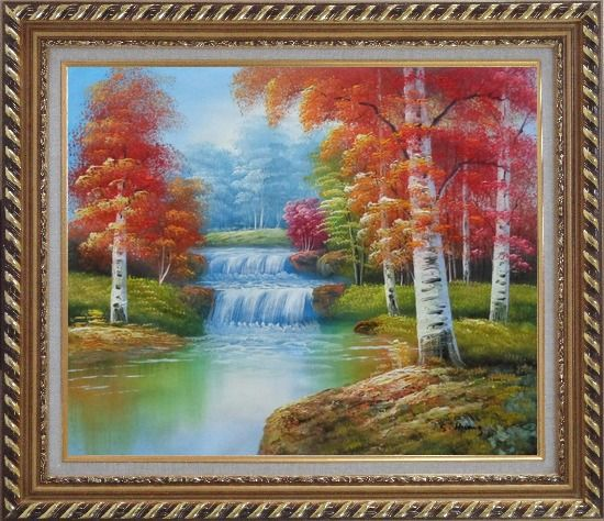 Framed Two Small Waterfalls in Gloden Autumn Oil Painting Landscape Naturalism Exquisite Gold Wood Frame 26 x 30 Inches