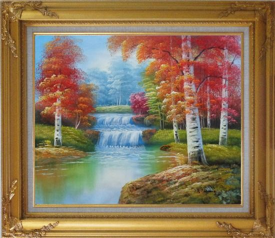 Framed Two Small Waterfalls in Gloden Autumn Oil Painting Landscape Naturalism Gold Wood Frame with Deco Corners 27 x 31 Inches