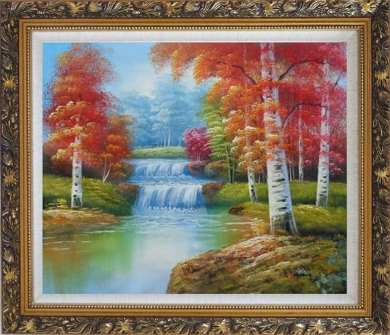 Framed Two Small Waterfalls in Gloden Autumn Oil Painting Landscape Naturalism Ornate Antique Dark Gold Wood Frame 26 x 30 Inches