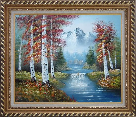 Framed Small Water Fall in Golden Autumn Oil Painting Landscape Waterfall Naturalism Exquisite Gold Wood Frame 26 x 30 Inches