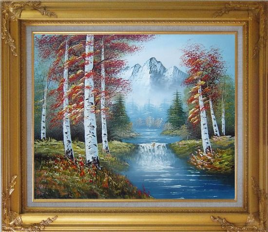 Framed Small Water Fall in Golden Autumn Oil Painting Landscape Waterfall Naturalism Gold Wood Frame with Deco Corners 27 x 31 Inches