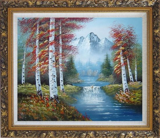 Framed Small Water Fall in Golden Autumn Oil Painting Landscape Waterfall Naturalism Ornate Antique Dark Gold Wood Frame 26 x 30 Inches