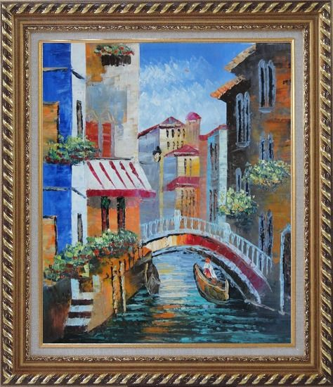 Framed Gondola Pass Through Small Bridge in Venice Oil Painting Italy Naturalism Exquisite Gold Wood Frame 30 x 26 Inches