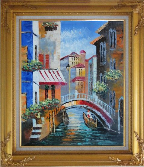 Framed Gondola Pass Through Small Bridge in Venice Oil Painting Italy Naturalism Gold Wood Frame with Deco Corners 31 x 27 Inches