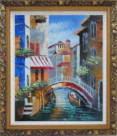 Framed Gondola Pass Through Small Bridge in Venice Oil Painting Italy Naturalism Ornate Antique Dark Gold Wood Frame 30 x 26 Inches