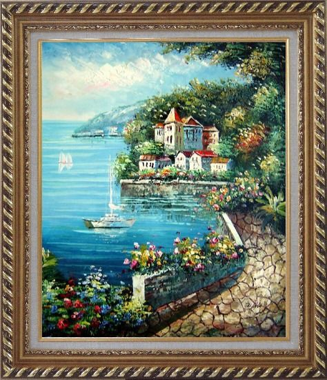 Framed Mediterranean Walk Oil Painting Naturalism Exquisite Gold Wood Frame 30 x 26 Inches
