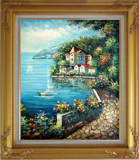 Framed Mediterranean Walk Oil Painting Naturalism Gold Wood Frame with Deco Corners 31 x 27 Inches
