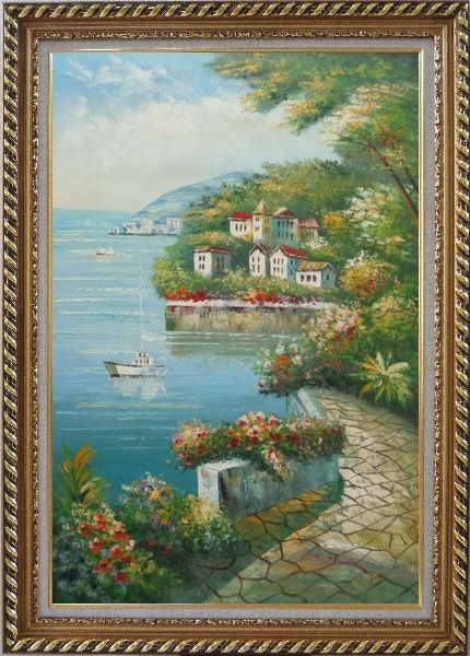 Framed Mediterranean Walk Oil Painting Naturalism Exquisite Gold Wood Frame 42 x 30 Inches
