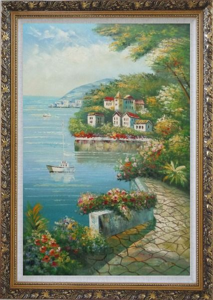 Framed Mediterranean Walk Oil Painting Naturalism Ornate Antique Dark Gold Wood Frame 42 x 30 Inches