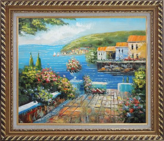 Framed Mediterranean Terrace Oil Painting Naturalism Exquisite Gold Wood Frame 26 x 30 Inches