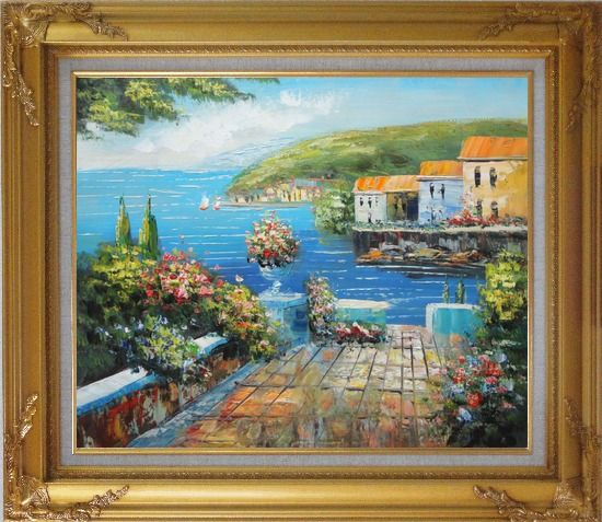 Framed Mediterranean Terrace Oil Painting Naturalism Gold Wood Frame with Deco Corners 27 x 31 Inches