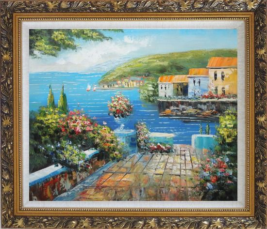 Framed Mediterranean Terrace Oil Painting Naturalism Ornate Antique Dark Gold Wood Frame 26 x 30 Inches