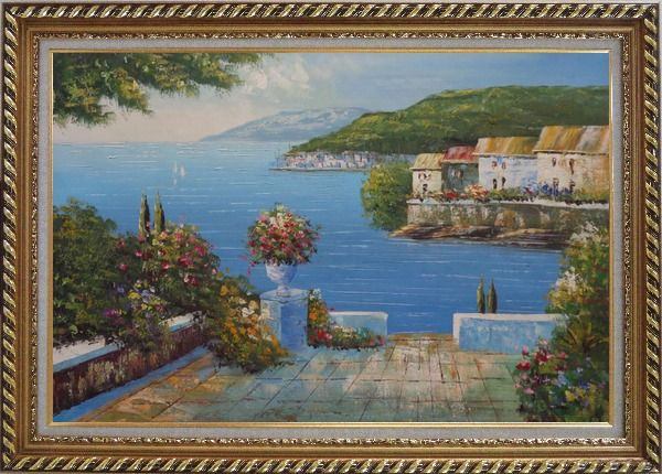 Framed Mediterranean Terrace Oil Painting Naturalism Exquisite Gold Wood Frame 30 x 42 Inches