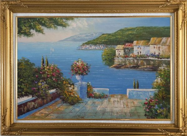 Framed Mediterranean Terrace Oil Painting Naturalism Gold Wood Frame with Deco Corners 31 x 43 Inches