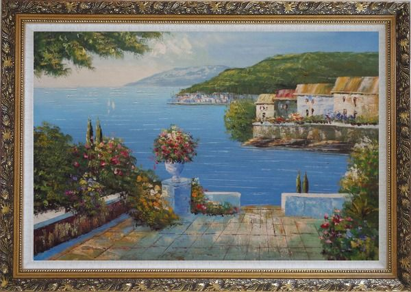 Framed Mediterranean Terrace Oil Painting Naturalism Ornate Antique Dark Gold Wood Frame 30 x 42 Inches