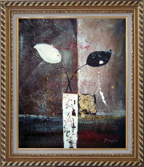 Framed Stretched Modern Vases with Black and White Flowers Oil Painting Still Life Exquisite Gold Wood Frame 30 x 26 Inches