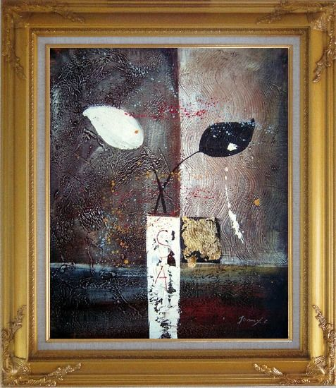 Framed Stretched Modern Vases with Black and White Flowers Oil Painting Still Life Gold Wood Frame with Deco Corners 31 x 27 Inches