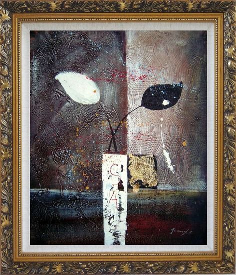 Framed Stretched Modern Vases with Black and White Flowers Oil Painting Still Life Ornate Antique Dark Gold Wood Frame 30 x 26 Inches