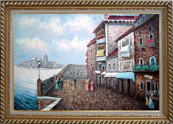 Framed Walking on Paris Seine Riverside Street Oil Painting Cityscape France Impressionism Exquisite Gold Wood Frame 30 x 42 Inches