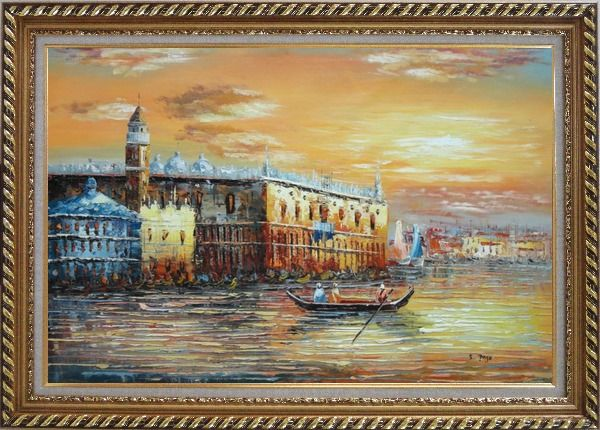 Framed Italian Venice Scene: Serenity Bay Oil Painting Italy Impressionism Exquisite Gold Wood Frame 30 x 42 Inches