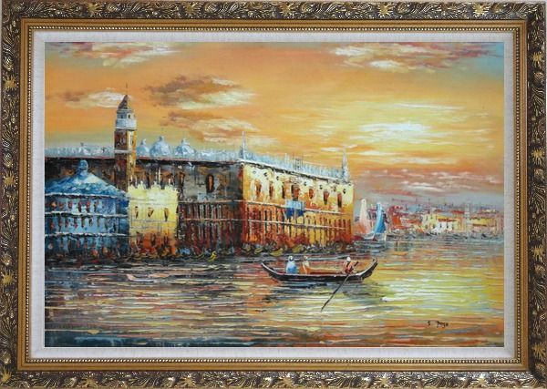 Framed Italian Venice Scene: Serenity Bay Oil Painting Italy Impressionism Ornate Antique Dark Gold Wood Frame 30 x 42 Inches