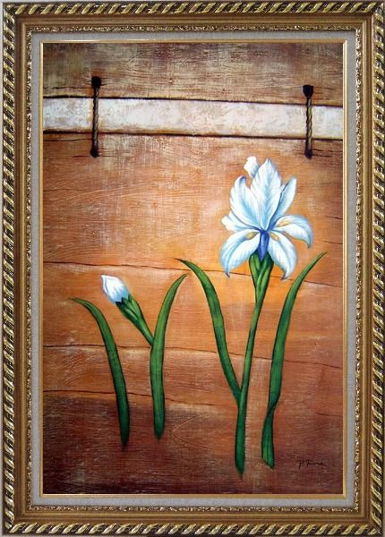 Framed Light Blue Flowers and Brown Wood Wall Oil Painting Tulip Modern Exquisite Gold Wood Frame 42 x 30 Inches