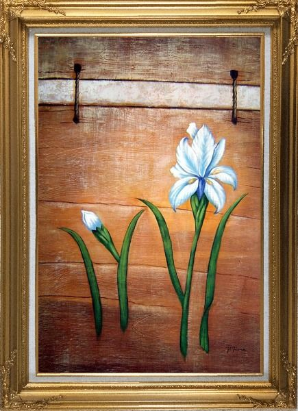 Framed Light Blue Flowers and Brown Wood Wall Oil Painting Tulip Modern Gold Wood Frame with Deco Corners 43 x 31 Inches
