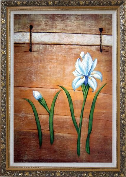 Framed Light Blue Flowers and Brown Wood Wall Oil Painting Tulip Modern Ornate Antique Dark Gold Wood Frame 42 x 30 Inches