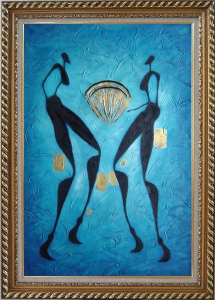 Framed Two Girls Dancing in Moonlight Oil Painting Portraits Woman Modern Exquisite Gold Wood Frame 42 x 30 Inches