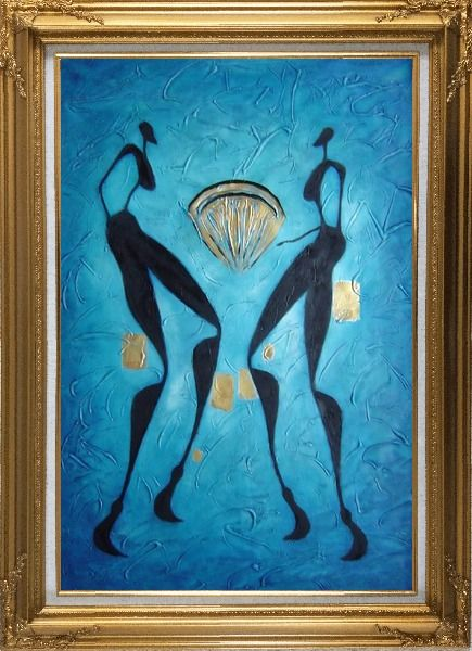 Framed Two Girls Dancing in Moonlight Oil Painting Portraits Woman Modern Gold Wood Frame with Deco Corners 43 x 31 Inches