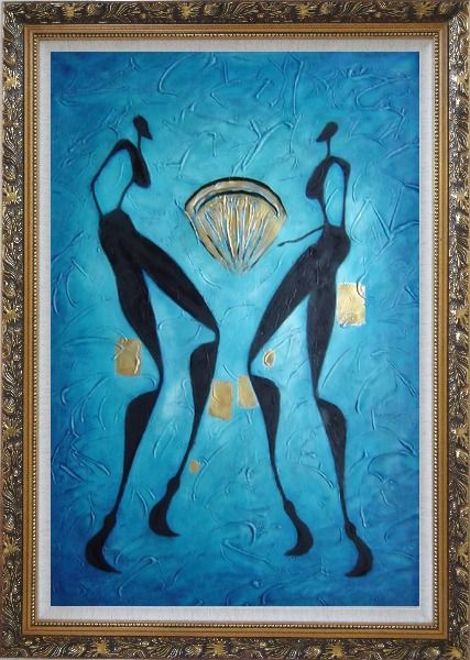 Framed Two Girls Dancing in Moonlight Oil Painting Portraits Woman Modern Ornate Antique Dark Gold Wood Frame 42 x 30 Inches