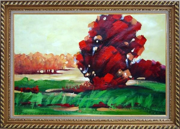 Framed Modern Red Trees Surrounded by Green Field Oil Painting Landscape Impressionism Exquisite Gold Wood Frame 30 x 42 Inches