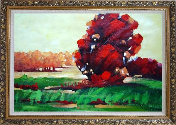 Framed Modern Red Trees Surrounded by Green Field Oil Painting Landscape Impressionism Ornate Antique Dark Gold Wood Frame 30 x 42 Inches