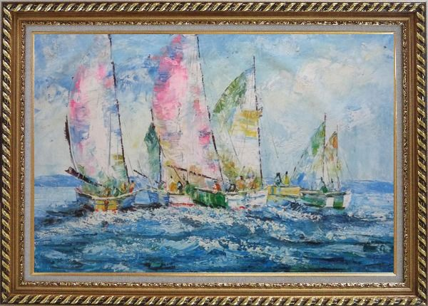 Framed Racing Sailboats Regatta Spinnaker Oil Painting Boating Impressionism Exquisite Gold Wood Frame 30 x 42 Inches
