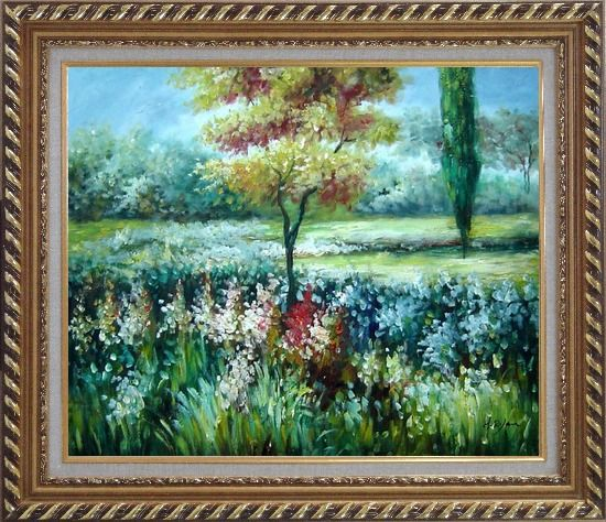 Framed Colorful Flowers and Trees in a Garden Oil Painting Landscape Impressionism Exquisite Gold Wood Frame 26 x 30 Inches