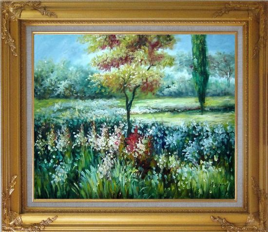 Framed Colorful Flowers and Trees in a Garden Oil Painting Landscape Impressionism Gold Wood Frame with Deco Corners 27 x 31 Inches