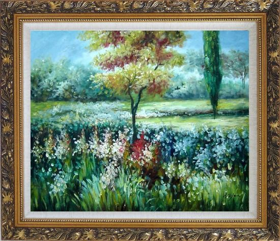 Framed Colorful Flowers and Trees in a Garden Oil Painting Landscape Impressionism Ornate Antique Dark Gold Wood Frame 26 x 30 Inches