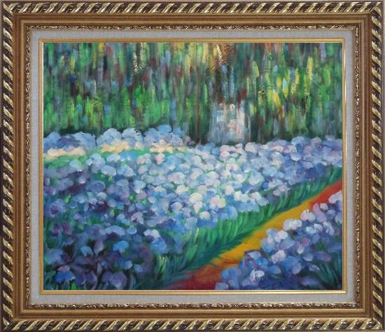 Framed The Artist's Garden at Giverny, Monet Reproduction Oil Painting France Impressionism Exquisite Gold Wood Frame 26 x 30 Inches