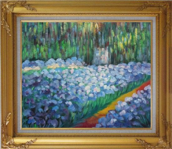 Framed The Artist's Garden at Giverny, Monet Reproduction Oil Painting France Impressionism Gold Wood Frame with Deco Corners 27 x 31 Inches