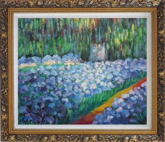 Framed The Artist's Garden at Giverny, Monet Reproduction Oil Painting France Impressionism Ornate Antique Dark Gold Wood Frame 26 x 30 Inches