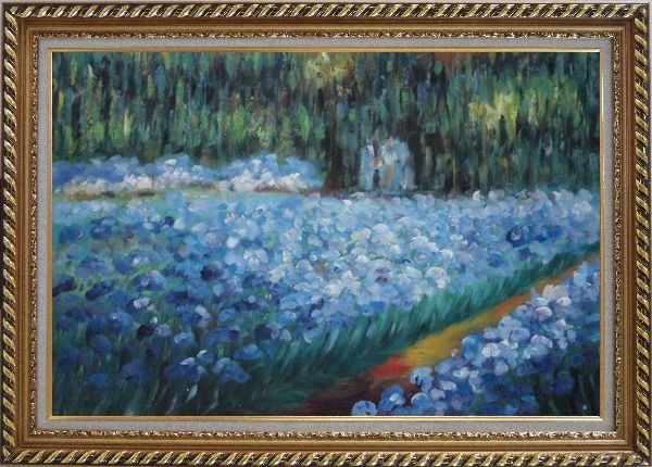 Framed The Artist's Garden at Giverny, Monet Reproduction Oil Painting France Impressionism Exquisite Gold Wood Frame 30 x 42 Inches